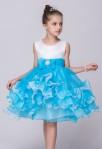 Robe de soirée enfant bleu pastel nœud volants