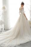 Robe de mariée manches bouffante épaules dégagées avec traine
