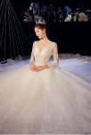 Robe de mariée princesse manches transparentes brodées