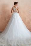 Robe de mariée princesse dos transparent en dentelle et voile