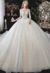 robe de mariée coupe princesse champagne manches longues