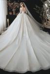 Robe de mariée coupe princesse champagne avec traine
