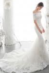 robe de mariée sirène manches courtes dentelle traine