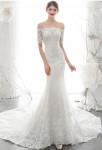 robe de mariée sirène manches courtes dentelle
