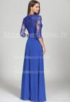 Robe de soirée bleu roi dentelle manches longues