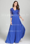 robe de soirée manches longues dentelle bleu roi