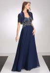 Robe de mariée longue bleu nuit évasée