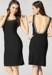 robe de soirée courte noir décolletée dans le dos strass