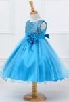 Robe de soirée fille enfant bleu turquoise sequins tulle