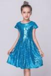 Robe de soirée fille sequins lumineux - bleu