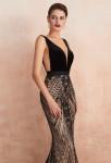 robe de soirée sexy sirène noir sur champagne velours strass