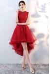 Robe de cocktail rouge asymétrique dentelle et tulle