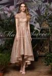 robe de soiree scintillant or asymetrique col montant