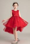Robe enfant pour mariage en dentelle rouge