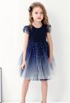 robe enfant bleu nuit scintillante étoile doré