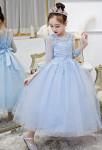 Robe de soirée enfant bleu pastel manches mi longues jupe sequins scintillante