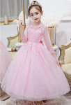 robe de soirée enfant en rose manches dentelle et tulle sequins
