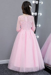Robe enfant rose manches tulle