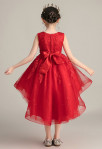 Robe enfant asymétrique rouge volants