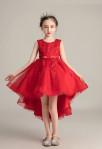 Robe rouge enfant asymétrique pour mariage