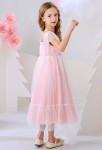 Robe enfant mi-longue rose à pois