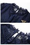 Robe dentelle bleu nuit - zoom