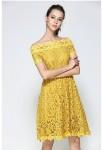 Robe courte dentelle guipure jaune