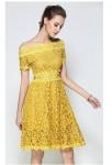 Robe habillée jaune dentelle guipure