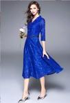 Robe bleu roi dentelle habillée