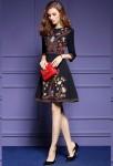 Robe noire habillée broderie fleurs