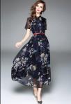 Robe habillée bleu imprimée à manches