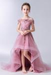 robe de soirée enfant asymétrique en vieux rose