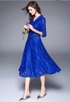Robe habillée bleu roi dentelle