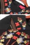 Robe noire brodée fleurs
