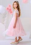 Robe enfant rose pour mariage à pois
