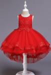 Robe de cortège enfant asymétrique rouge princesse