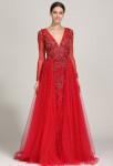Robe de soirée sirène rouge avec manches longues