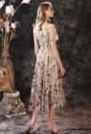 robe de cérémonie dentelle fleurie avec manches