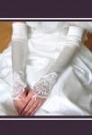 gants mariée long satin strass perles dentelle s140