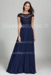 robe de soirée bleu nuit longue à manches