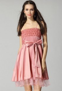 Maëlie - babydoll robe courte décorée de fleurs roses réf 1251