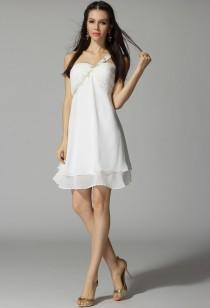 Déstockage - Andrea - robe de soiree courte une bretelle fleuri 3321