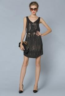 Jolie robe noir à paillette style charlestonn réf YY6261
