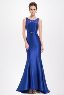 Robe de cérémonie bleue saphir sirène longue - Réf EP8511