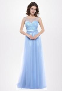 Robe de cérémonie légère et fluide bleuté Réf EP8833