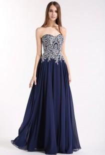 Robe de bal chic et glamour en bleu nuit Réf 1679