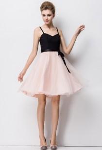 robe de cocktail rose et noire avec jupon réf YY7082