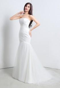 Robe de mariée bustier forme sirène sans strass réf SQ111 - sur demande