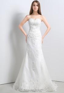 Robe de mariée simple en forme sirène réf SQ106 - sur demande