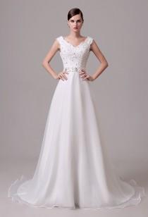 Robe de mariée sans manche col v réf SQ303 - sur demande